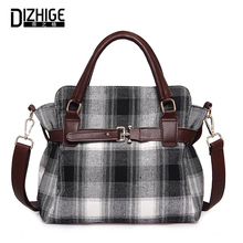 DIZHIGE Wool Shoulder Bag Luxury Handbags Women Bags Designer High Quality Ladies Hand Bags Big Female Plaid Casual Tote Winter недорго, оригинальная цена