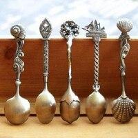5 Cái/bộ Nhà Bếp Phòng Bar Cổ Điển Hoàng Gia Phong Cách Bronze Khắc Nhỏ Muỗng Cà Phê Cho Đồ Ăn Nhẹ Món Tráng Miệng Thìa