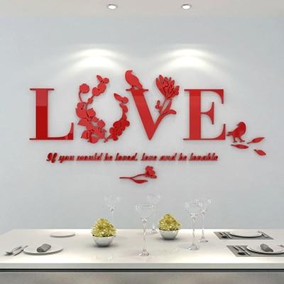 Love Flower Wall Stickers Acrylic 3D House Decoration Living Room Muurstickers Voor Kinderen Kamers Muraux Adesivo De Parede
