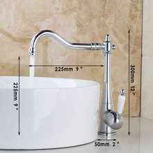 Swivel Kitchen Basin Sink Mixer Tap Faucet Chrome Polished Faucet Wash Basin Sink Mixer Extend Spout Rotating for 2 Sinks