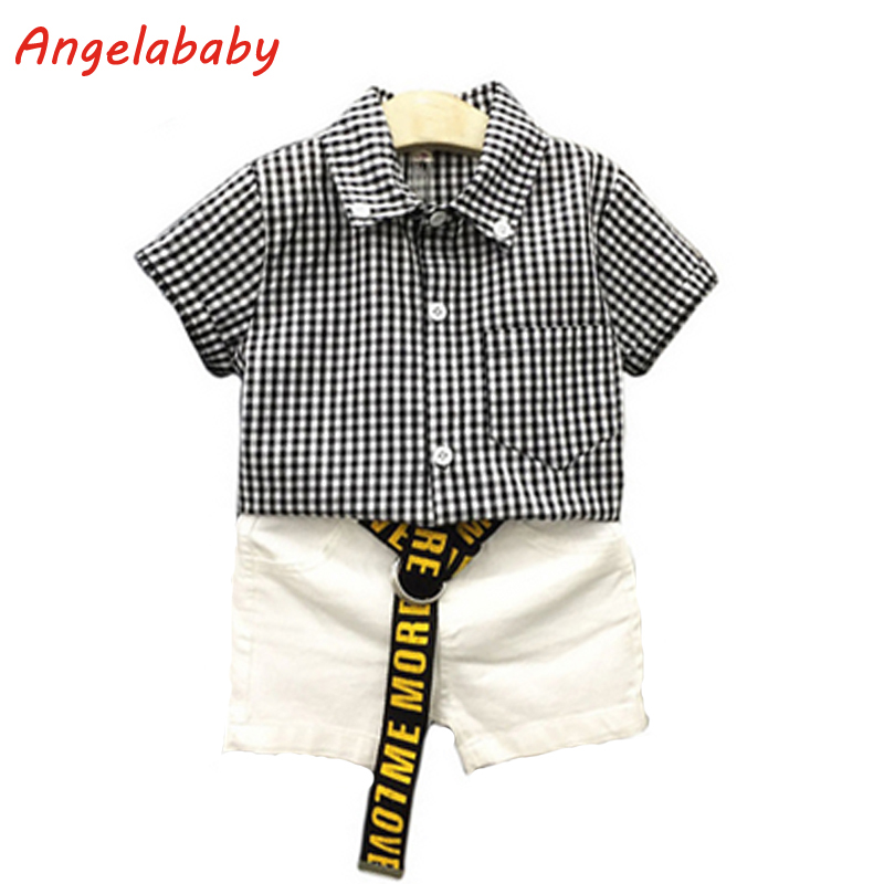 2017 Boys Clothing Set Summer New Korean Black and White Plaid Shirt + Casual Shorts Kids Clothes Suit