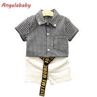2017 Chłopcy Odzież Zestaw Lato Nowy Koreański Black and White Plaid Shirt + Spodenki Ubrania Dla Dzieci Kostium