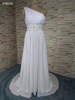 Giá rẻ! 2018 Mới Miễn Phí Vận Chuyển Beading Crystals Một Vai Trắng/Ngà Wedding Dresses FS027