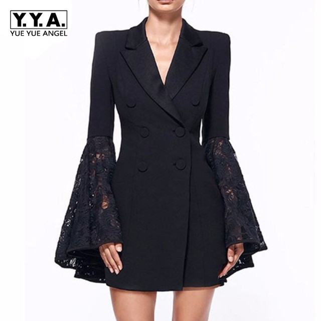 Fashion Office Ladies Lace Spliced Flare Sleeve Blazer Dress Women Double  Breasted Long Jacket Suit Slim Fit Business Party Coat 83bdbe0c1ff7