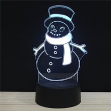 Cartoon Snowman Merry Christmas Gifts For Kids LED 3D NightLight Acrylic Night Lamp Light Touch Remote Lamps Lights Decoration
