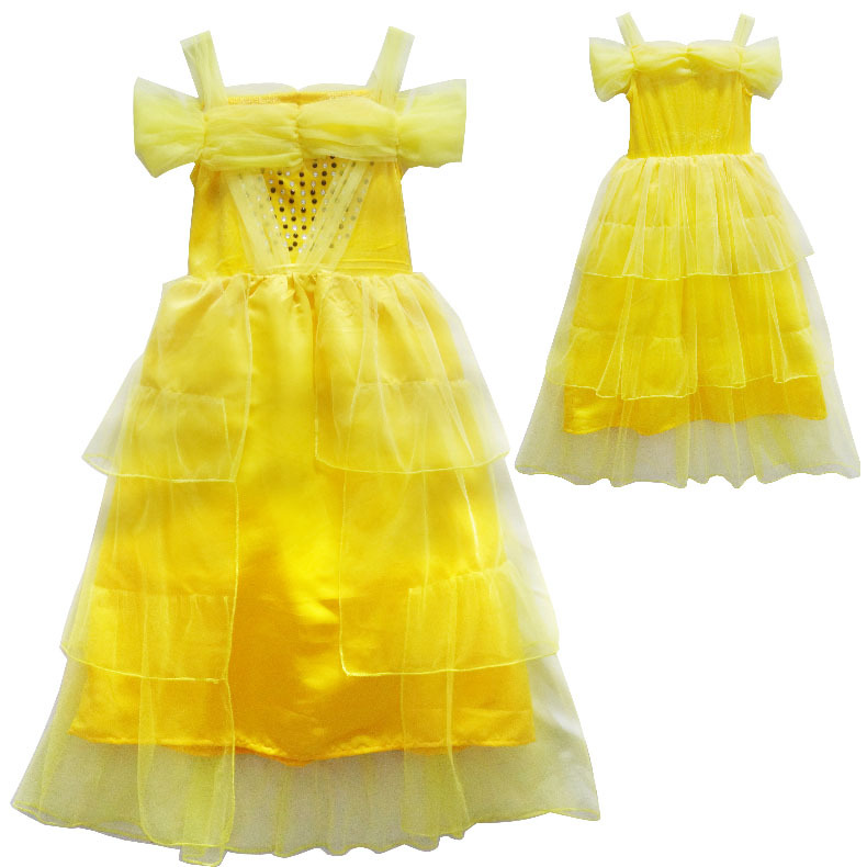New Fantasia girls Halloween Cosplay Beauty And The Beast kid Princess Belle Costume