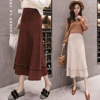 Knitted Busty Skirt Female 2018 Autumn Winter New Women's High Waist Long Skirt Wool A Word Skirt Tide