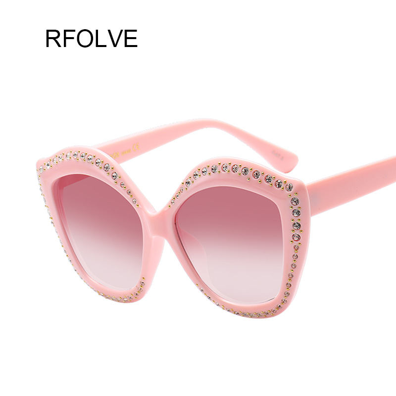 RFOLVE Fashion Design Elegant Rhinestone Cat Eye Women Sunglasses Classic Butterfly Glasses Frame Rivet Design Glasses R8287