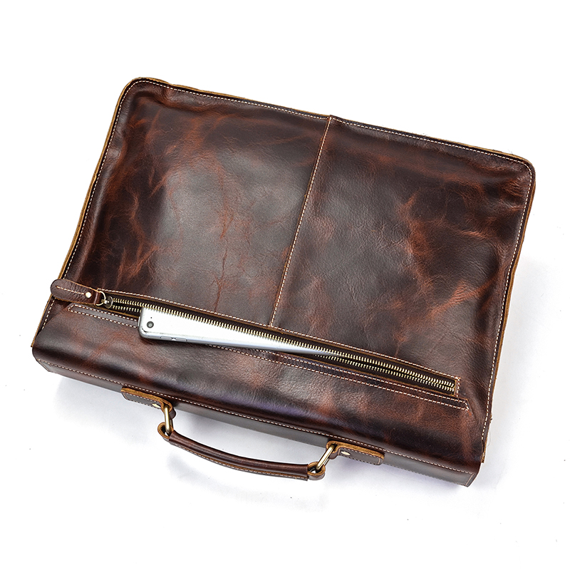 "HTB1cvMXbcrrK1RjSspaq6AREXXav Vintage Men's Genuine Leather briefcase 16"" Cowhide Business bag Cow leather Laptop Double Layer messenger bag PC work tote"