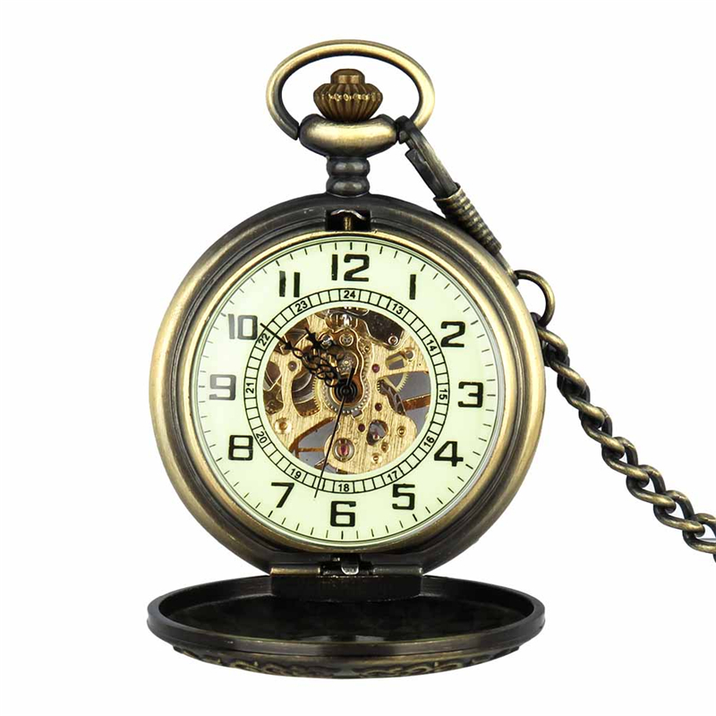 Retro Pocket Watch for Unisex Men Women Bronze Elegant Engraved Case Steampunk Skeleton Mechanical Movement With Chain Gift Box 5
