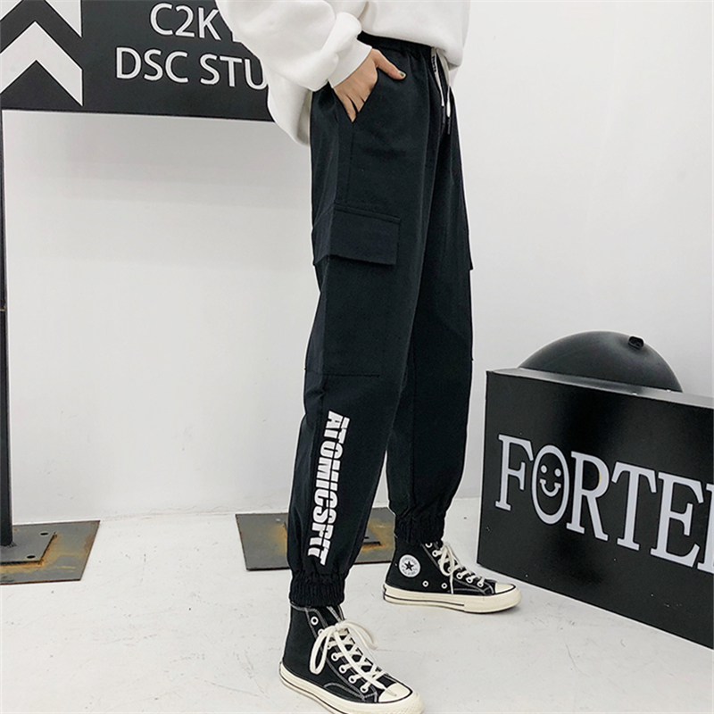 Black Drawstring High Waist Cargo Pants Women Multi Pockets Loose Streetwear Harajuku Fashion Hip Hop Women's Joggers Trousers 2