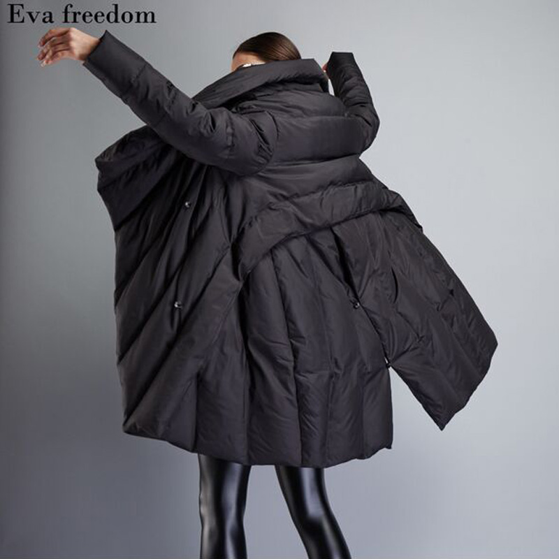 2018 De Veste Long Canard Mode Noir Femelle Duvet Épais Down Blanc Femmes Nouveau Chaud D'hiver Manteau Lâche Parka vEP7rqv