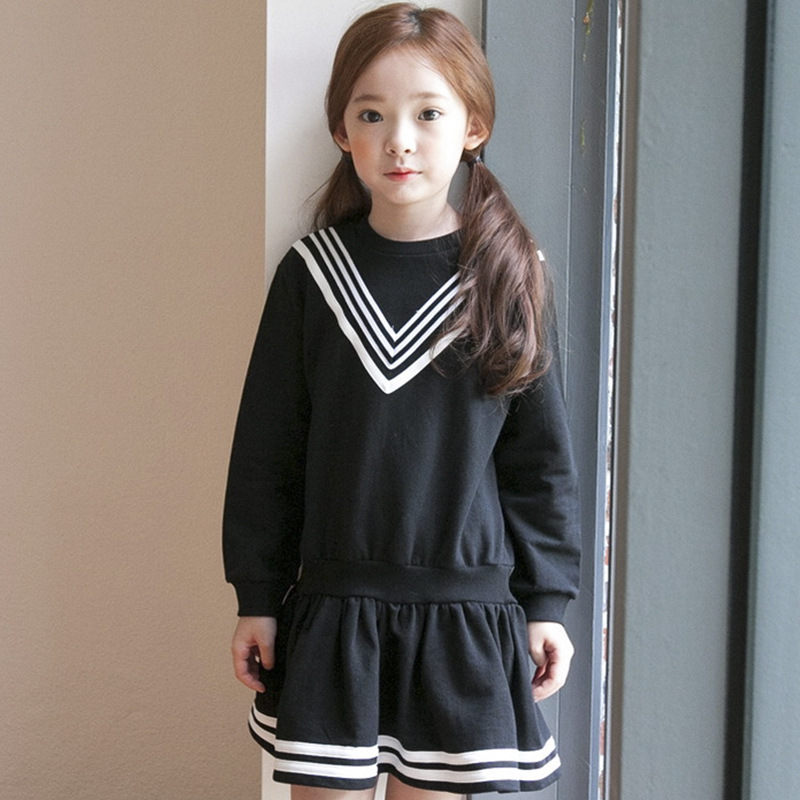 school teenage girls dress long sleeves  preppy style cotton kids dresses for girls 12 10 14 8 6 years black grey clothing hayden girls boho ethnic dress designs teenage girls national embroidered dresses flare sleeve loose fit dress for 7 to 14 years