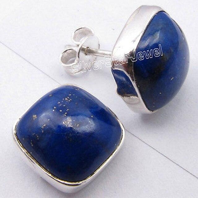 Pure Silver High End LAPIS LAZULI Cabochon Cushion Studs Earrings 1.2 CM NEW