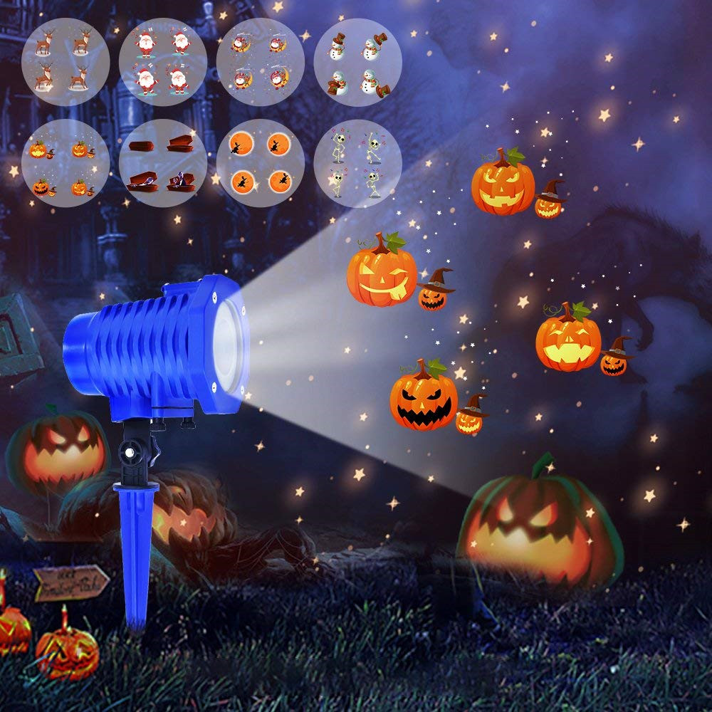 NEW Animated Led Projector Light With Wireless Remote Sata Elk Patterns IP65 For Halloween Lawn Garden
