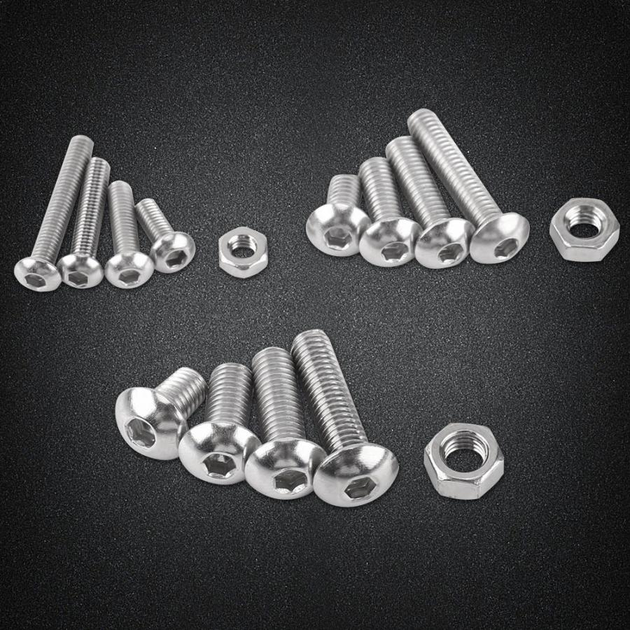 440Pcs/set M3 M4 M5 Screws Nuts 304 Stainless Steel Hexagon Socket Button Head Cap Repair & Hex Bolts Set