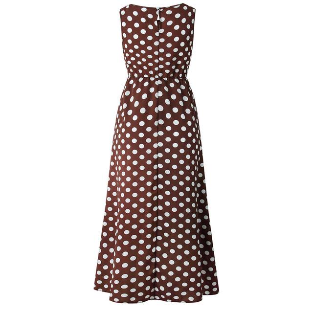 Summer Sleeveless Polka Dot Print Midi Dress