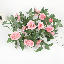Artificial Flower Rose Hanging Decorative Roses Vine Fake Plants Leaves Artificials Garland Flowers Wedding Decoration Wall