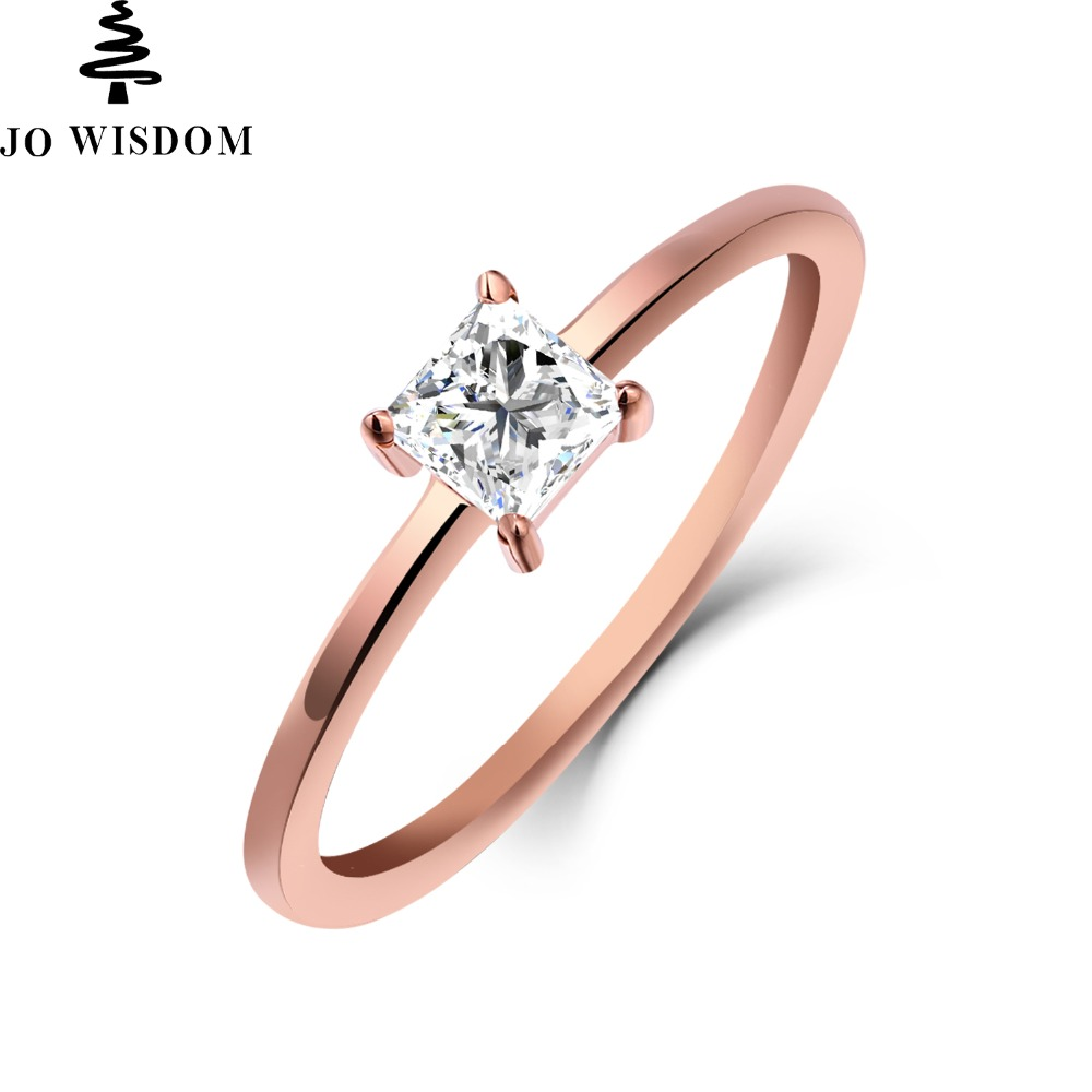 JO WISDOM Romantic 14K Rose Gold Ring Eternal Match 0.25 Natural Moissanite Ring for Lovers Engagement Gift 9K10K14K ...