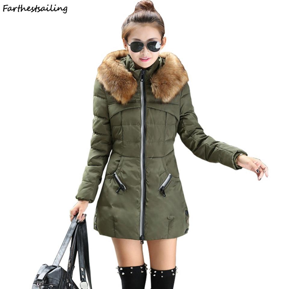 2018 Women Coat Autumn Winter Hooded Fur Collar Women Basic Jacket Female Cotton Casual Padded Plus Size 6XL 7XL Casaco Feminino