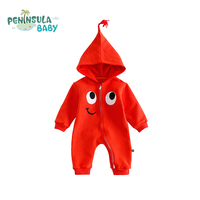 Autumn Cotton Hooded Cartoon Eyes Baby Newborn Rompers Cute Funny Kids Clothing Long Sleeve Pullover Girl