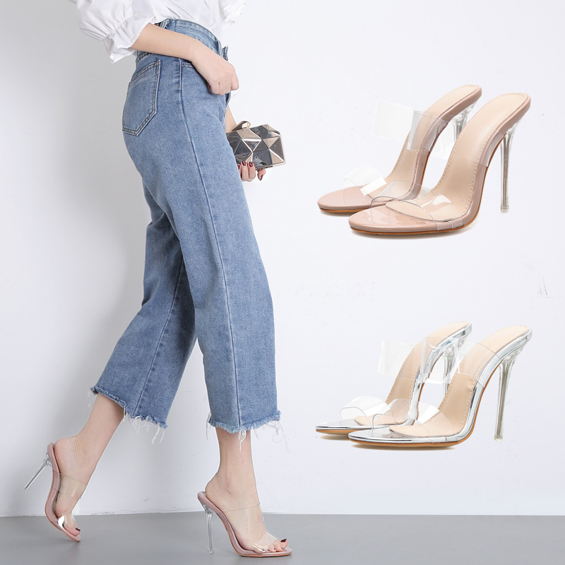 Woman Clear High Heels Shoes Transparent Sandals PVC Pumps Summer Hollow Slides ladies Peep toe Sandalias mujer apricot silver basic pump