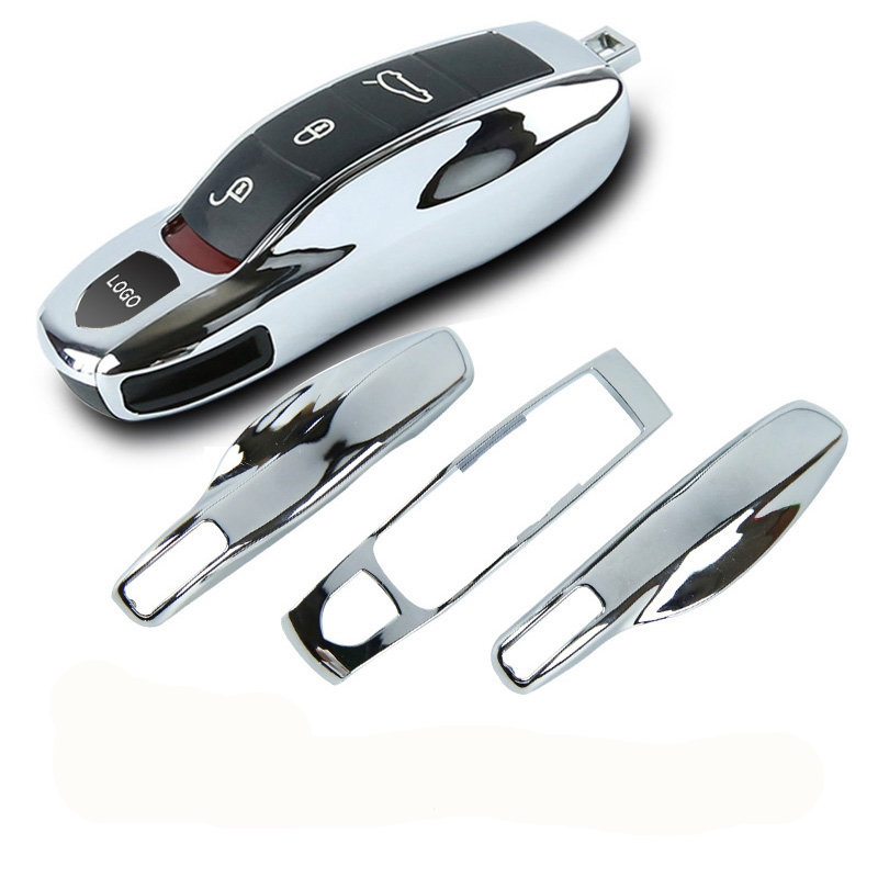 Replace Key-Cover Porsche Cayman Panamera Macan Cayenne Fit Silver 911 Mirror 3pcs Chrome-Fob title=