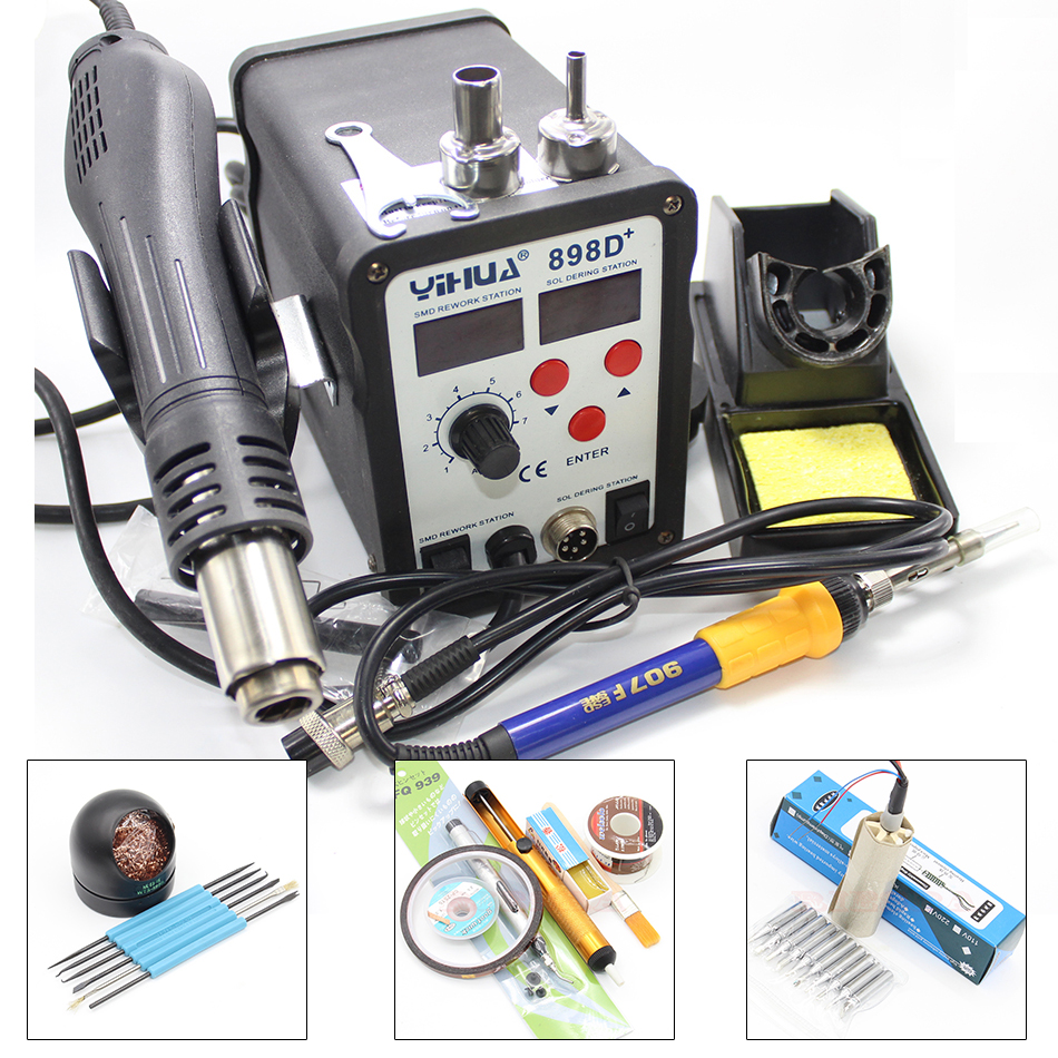 YIHUA 898D+ 2in1 SMD Rework Soldering Station Solder Iron with Heat Hot air Gun ESD Tips BGA Hot Air Nozzles yihua 862d 110v 220v 720w constant temperature antistatic soldering station solder iron heat air gun