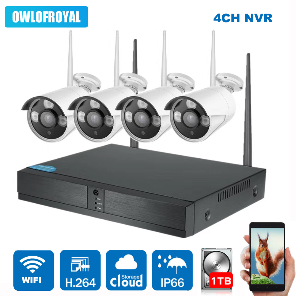 4CH Wireless NVR Kit 1080P Wireless IP Camera P2P 720P 1.3MP Indoor Outdoor IR Night Vision Security Camera WIFI CCTV System 4ch 1080p hd wireless nvr camera system p2p 720p 1mp indoor outdoor ir night vision ip camera wifi cctv camera security system