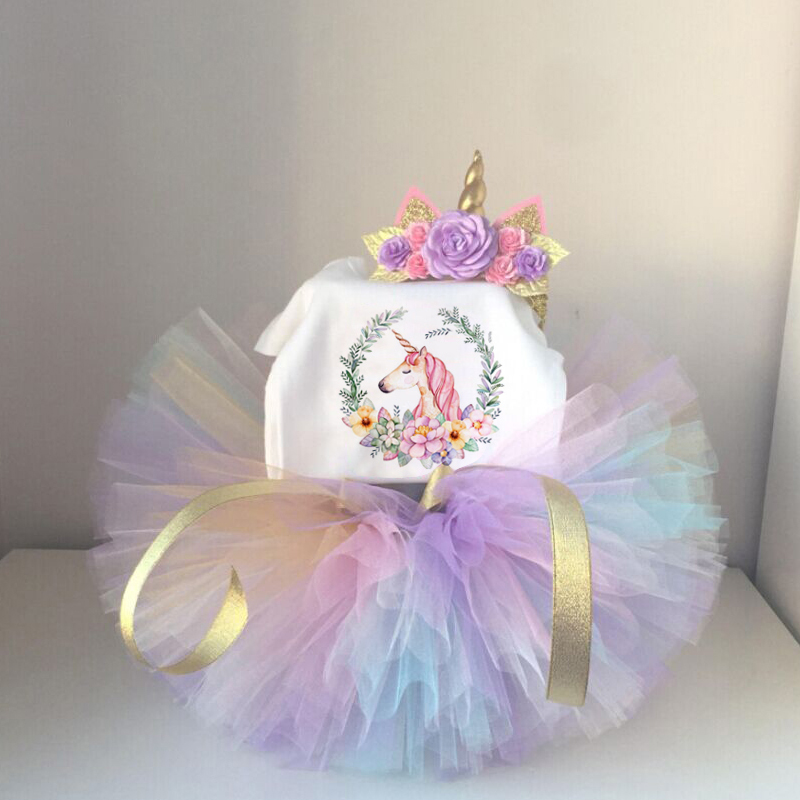 Cute Unicorn 1 Year Baby Kids Girls 1st Birthday Party Outfits 3pcs New Born Baby Girl Princes Colorful Dress with Headband new baby girls clothes infant 1 year 1st birthday outfits fancy unicorn party dress baby kid girl hairband rompers tutu dress