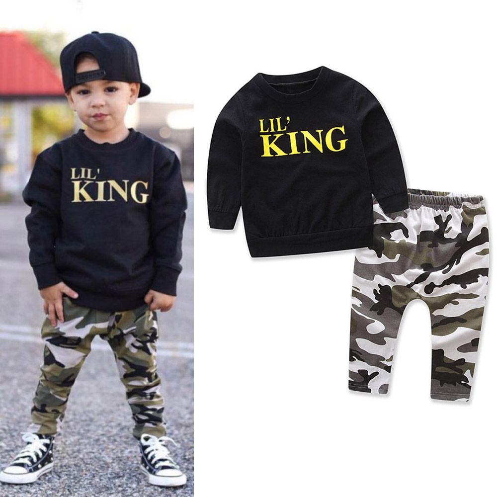 Baby Boys Clothing 2018 Autumn New Fashion Leisure Cotton Black T-shirt+camouflage Pants 2pcs Set Tracksuit Toddler kids Clothes 2pcs children outfit clothes kids baby girl off shoulder cotton ruffled sleeve tops striped t shirt blue denim jeans sunsuit set