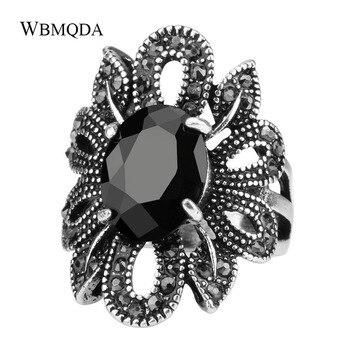 Anillo gótico Punk bohemio para mujer, anillos de cristal de mosaico de piedra negra, Color plateado, accesorios de flores huecas, joyería tibetana Vintage