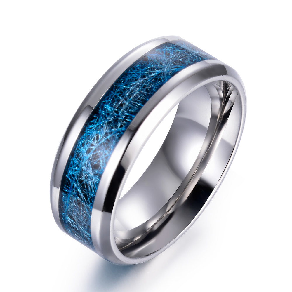 eejart stainless steel blue inlay bands promise wedding ring for men