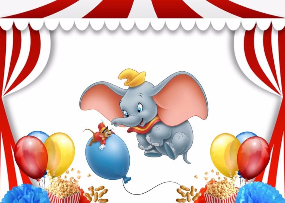 7x5ft Carnival Circus Stage Dumbo Elephant Balloons Custom ...