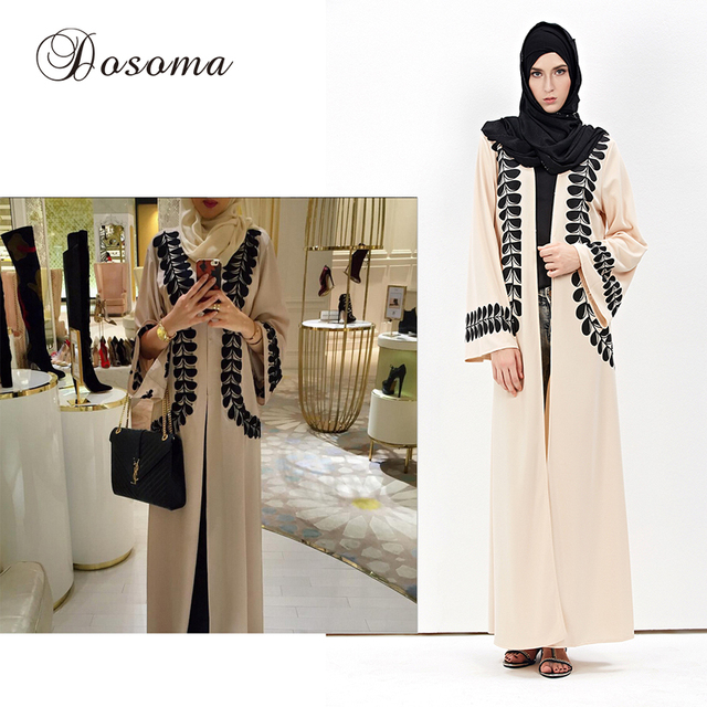 8bd2463f96a Islamique musulman abaya dress imprimer cardigan burka robes style turc instant  hijab à tricoter coton arabe