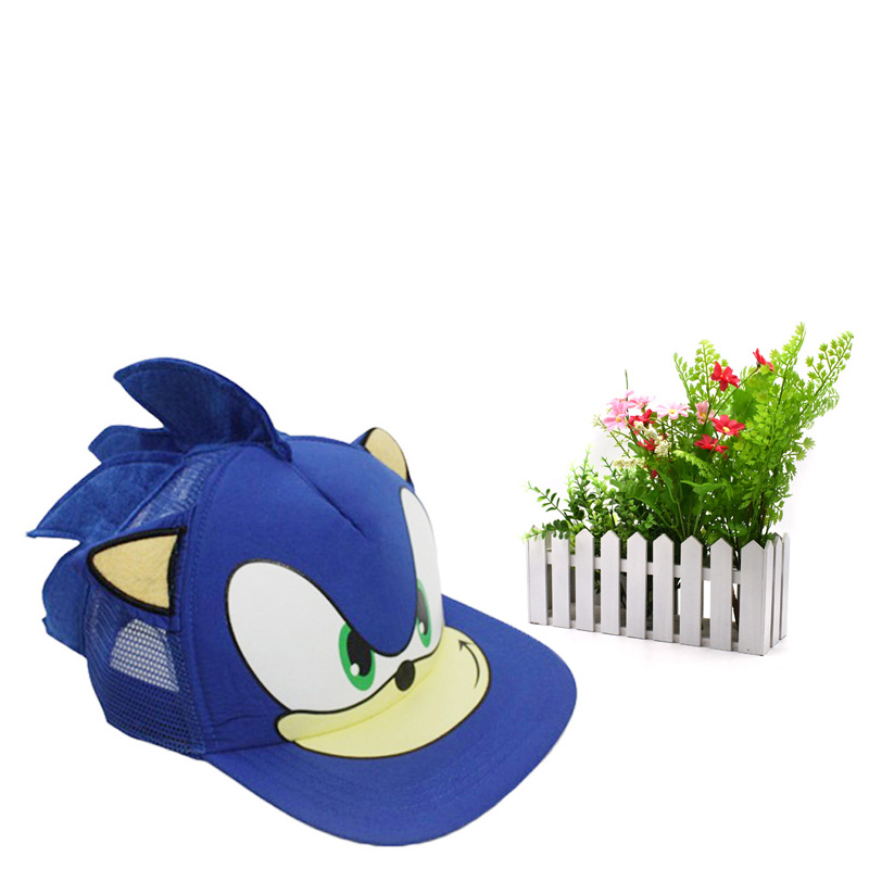 10 pcs lot Sonic Adjustable blue Baseball Hat Cap Cartoon Summer Hat Plush Toy One Size