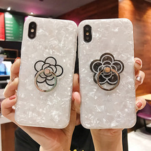 Phone Case on Coque For iPhone 7 8 6 6S Plus X XR XS MAX Flower Shell Back Cover Soft Silicone TPU Cases with Finger Ring Holder flower printed shell finger ring stand phone case for iphone x xr xs max soft tpu cover for iphone 7 8 plus 6 6s gli case coque