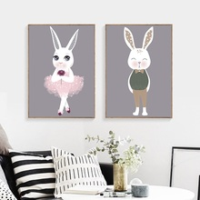Nordic Minimalist Modern Couple Love Rabbit Art Picture Framed Home Decoration Canvas Painting Children's Room Wall Poster