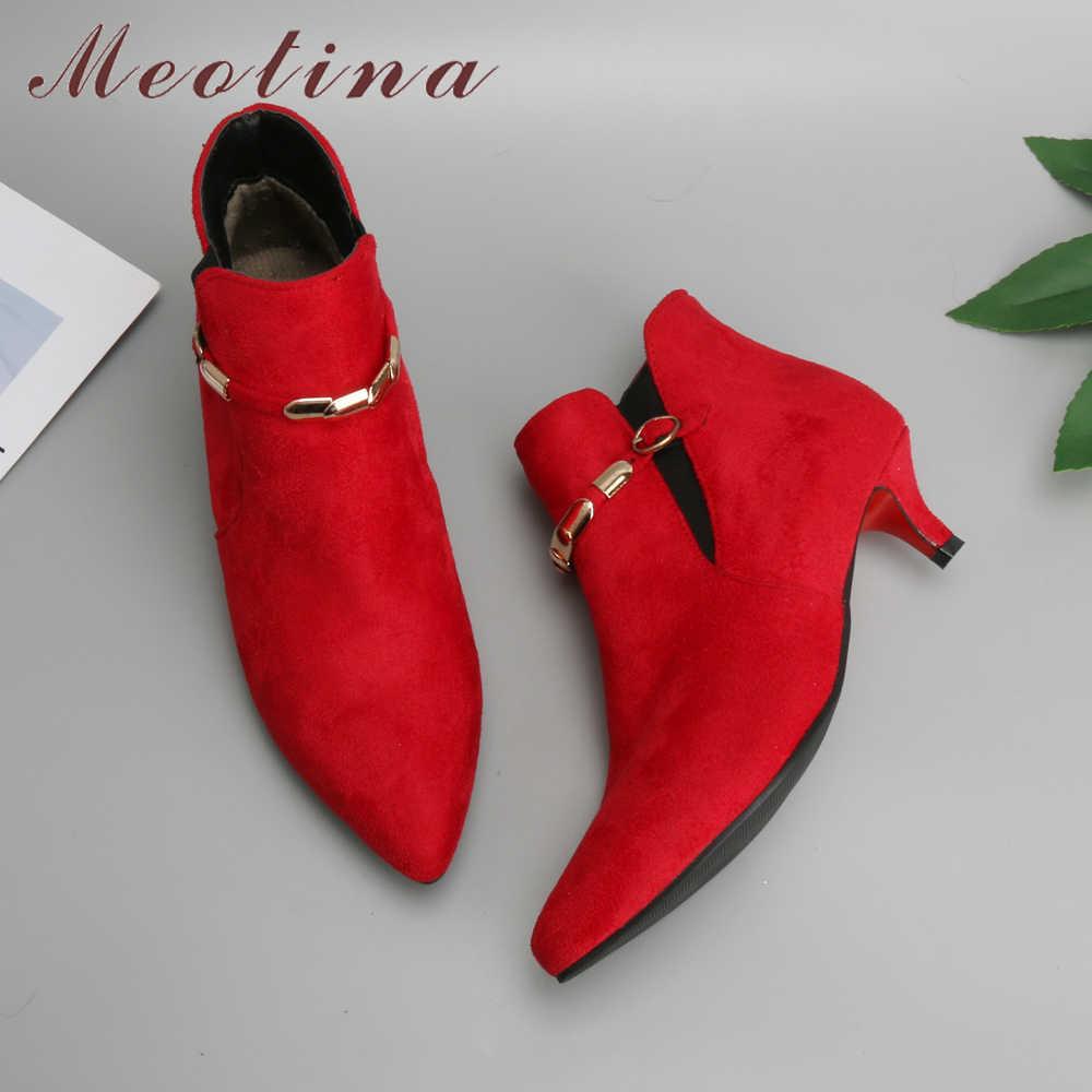 Meotina Kadın yarım çizmeler Kış Orta Topuk Çizmeler Moda Sivri Burun Toka kısa çizmeler Kırmızı Kadın Ayakkabı Sonbahar Büyük Boy 44 46