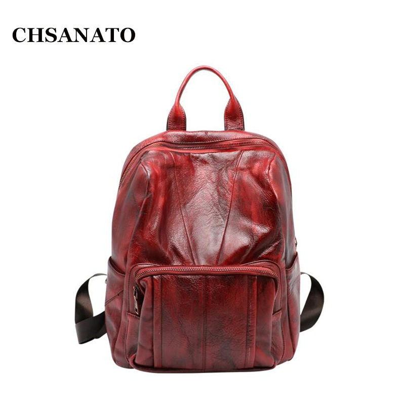 CHSANATO High Quality Vintage Fashion Casual Leather Women Backpack Bags For Lady Rucksack Teenagers Schoolbags