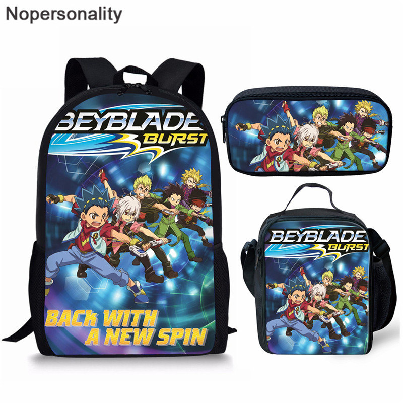 Nopersonality Cool Kids School Bag Set Anime Beyblade Burst Evolution School Bags Backpack For Girls Boys Orthopedic Schoolbags