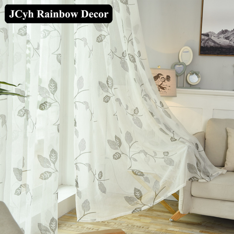 US $5.53 29% OFF|Floral White Tulle Curtains for Living Room Bedroom Modern  Blinds Sheer Window Curtains for Kitchen Organza Curtain Decorative-in ...