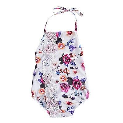 Helen115 Lovely Newborn Baby Girls Floral Printed Sleeveless Leak Back Belt Bodysuit 0-24M