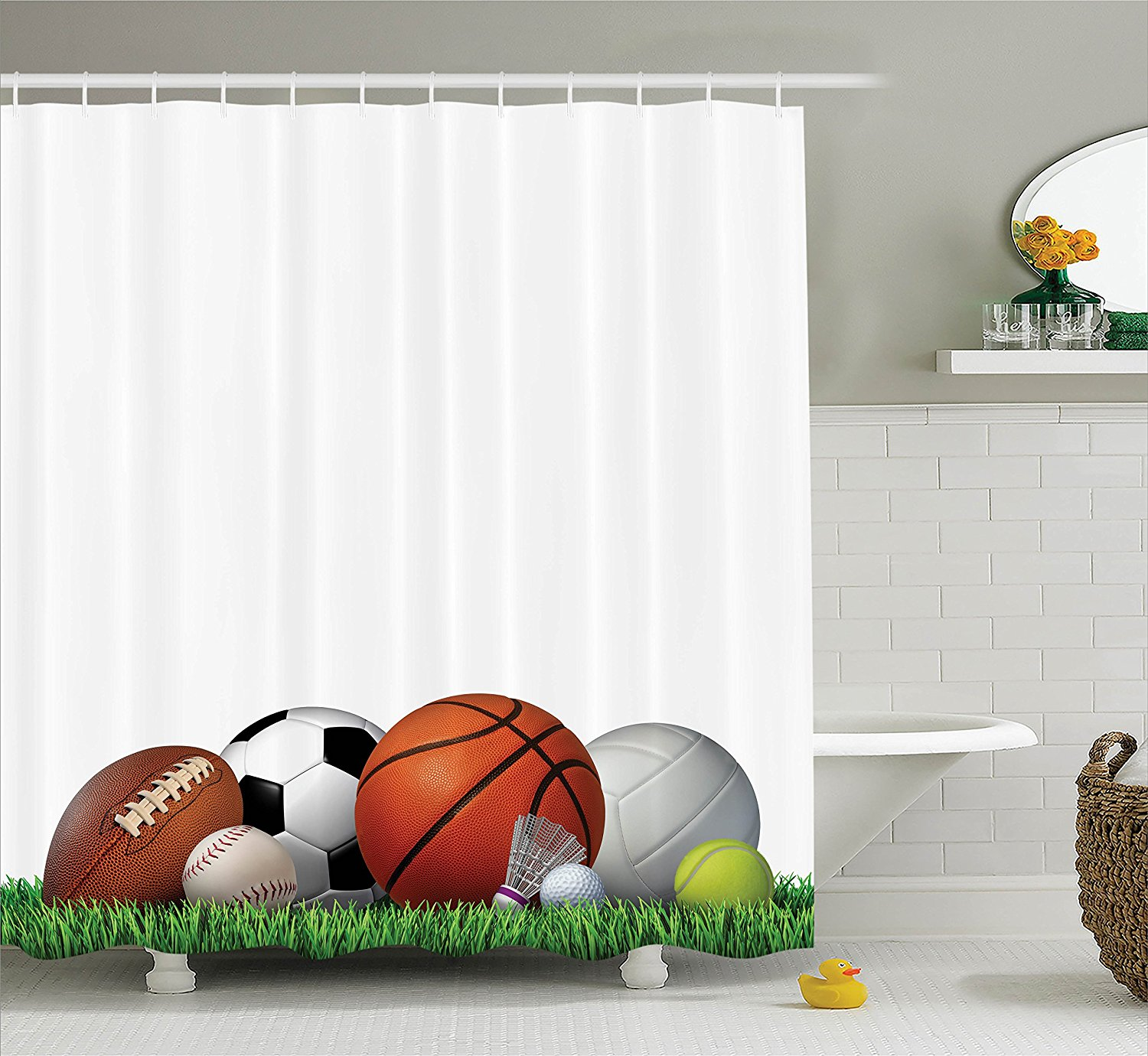 Sports Decor Collection Sports Equipment on Grass Summertime Outdoor Activities Fitness Exercise Design Shower Curtain