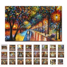 Modern Palette Knife Park Street Oil Painting On Canvas