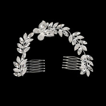 New Leaves Luxurious Bride Long Head Ornament Comb Girls Leaf Hair Accessories Crown Women Inlaid Rhinestone Alloy Headwear(China)