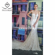 Swanskirt Wedding Dress mermaid sexy backless Royal Train