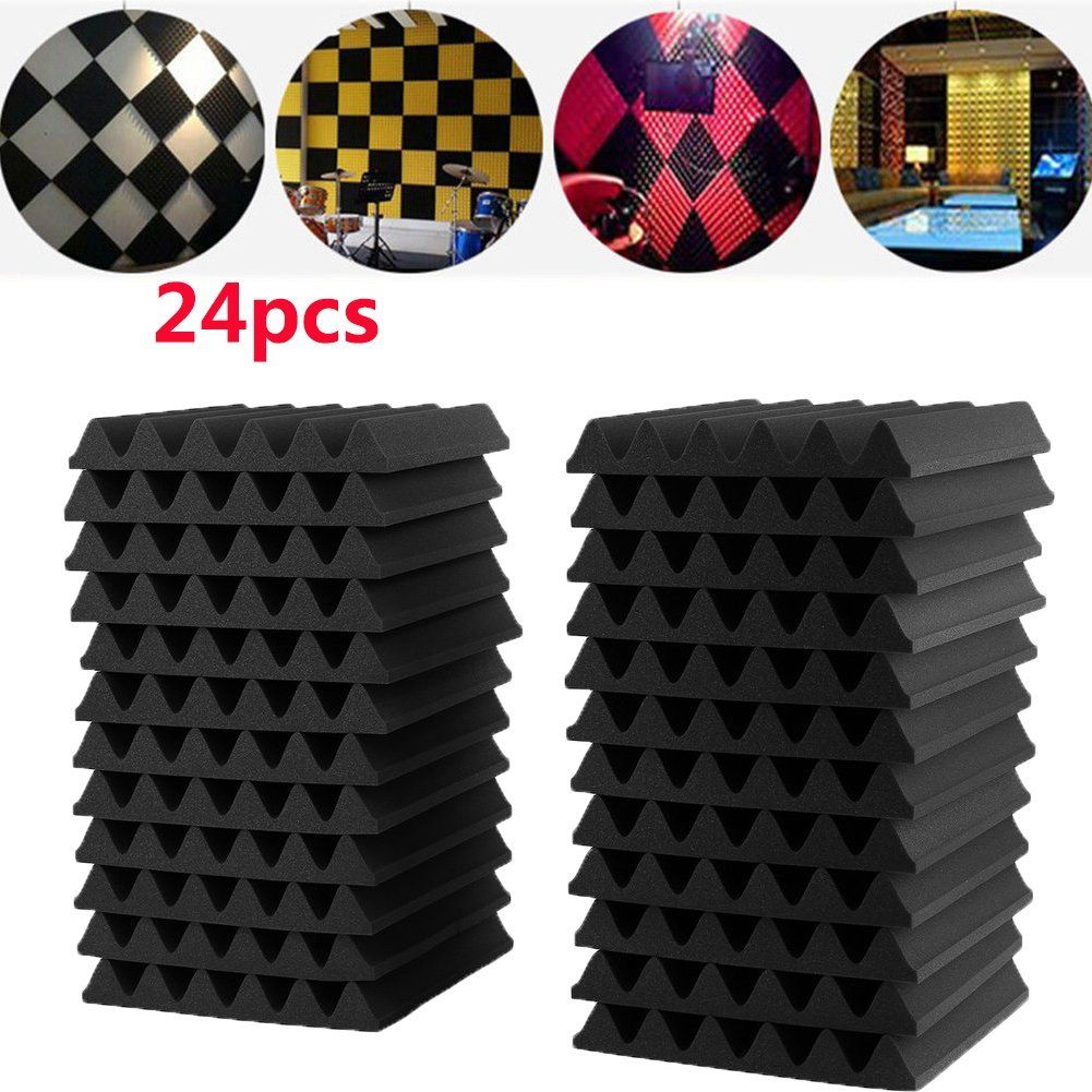 24Pcs 30X30X3CM Soundproofing Foam Studio Acoustic Foam Soundproof Absorption Treatment Panel Tile Wedge Polyurethane foam