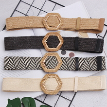 New Vintage Knitted Wax Rope Wooden Bead Waist Women Smooth Buckle Belt Woman Woven Female Hand-Beaded Braided BZ75