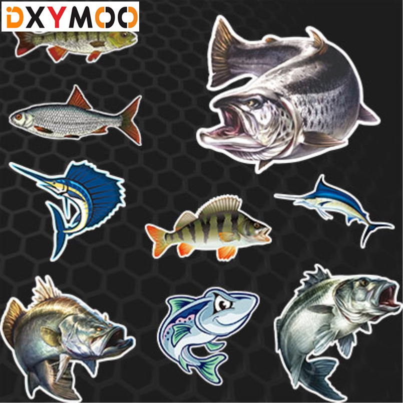 White Perch Lure Weever Bass Car Stickers Go Fishing Stickers Auto Window Tail Fish Tank Car Styling 3M go fish dvd